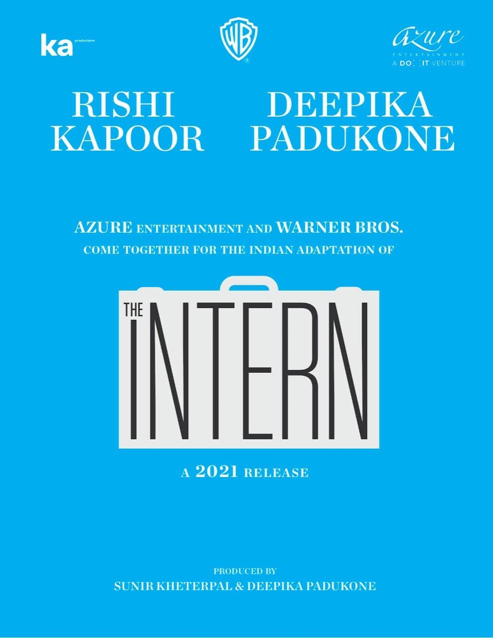The Bollywood Remake of The Intern Cast Deepika Padukone and Rishi Kapoor in the Lead