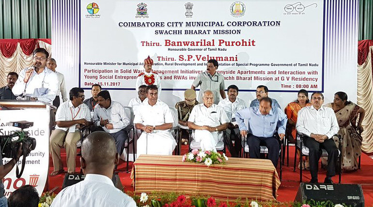 TN Governor Banwarilal Purohit Honors Coimbatore Sunny Side Apartment For Zero Waste