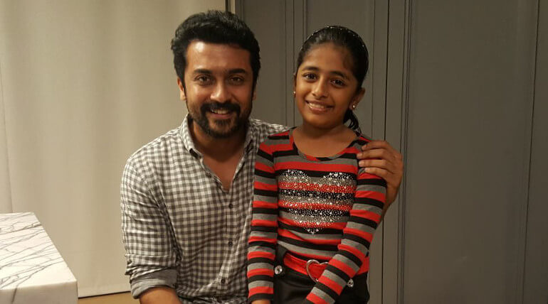 Suriya with Aruvi fame and singer Praniti,Image from Praniti facebook