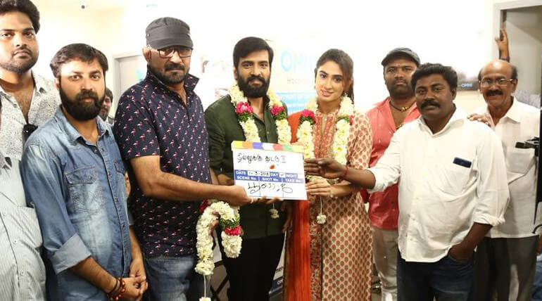 Santhanam successful horror comedy Dhilluku Dhuddu sequel started with pooja today at Hyderabad, photo credit: Santhanam @iamsanthanam (twitter)
