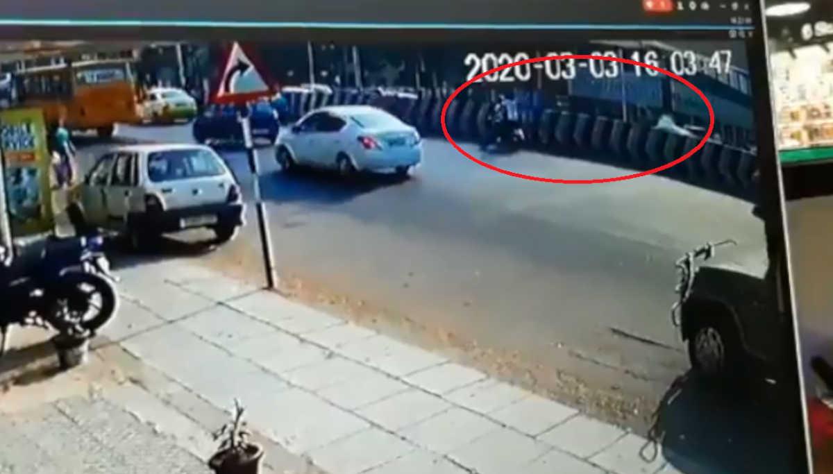 CCTV Footage of Bikers Hurling Crude Bombs