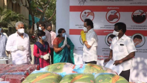 DMK Chief Distributes Essentials